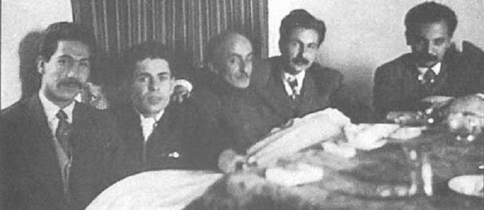 هوشنگ  ابتهاج، سیاوش کسرایی، نیما یوشیج، احمد شاملو و مرتضی کیوان