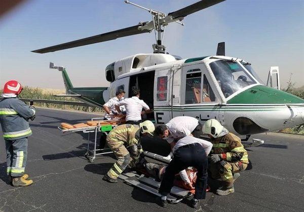تصادف مرگبار پژو ۲۰۷ در جاده ورامین/ انتقال مصدومان با بالگرد + تصاویر