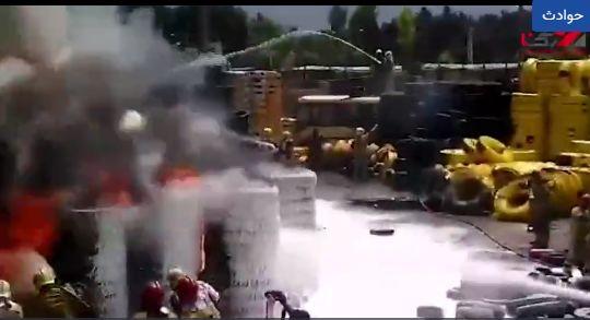 آتش سوزی بزرگ در خیابان مشیریه تهران + فیلم