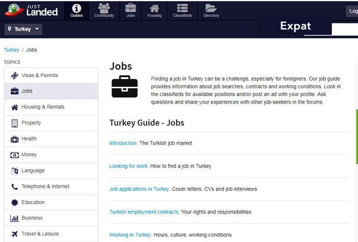 سایت JUSTLANDED.com برای کار در ترکیه