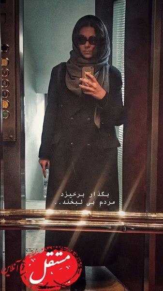 سلفی خانم بازیگر در آسانسور خانه اش + عکس