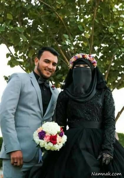 عروس و داماد با لباس عزا در مراسم ازدواجشان + عکس