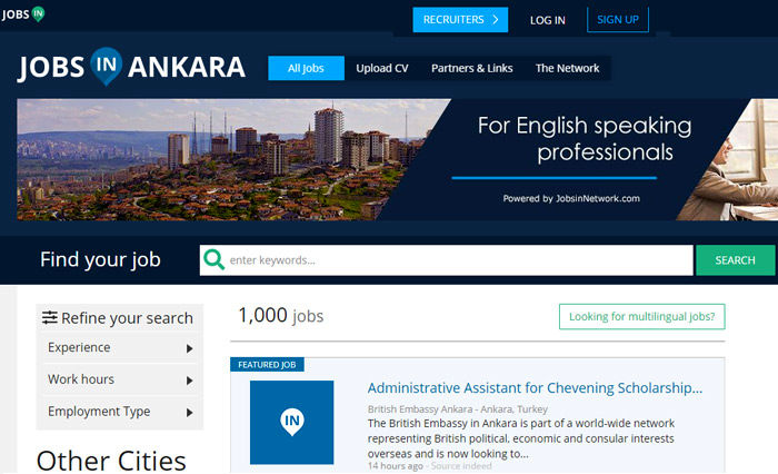 JOBSINANKARA.com برای پیدا کردن کار در ترکیه